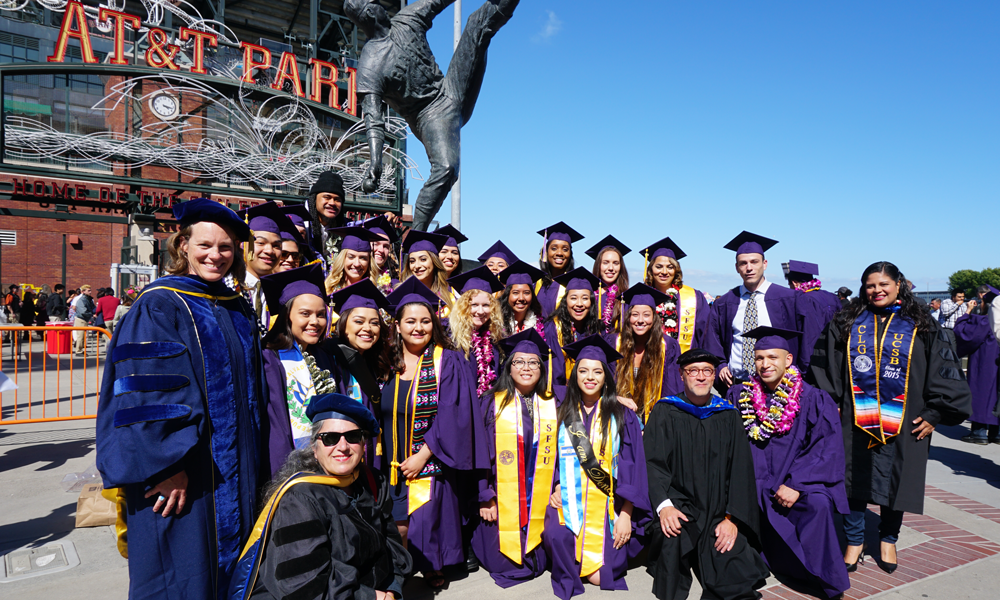 Recent graduates and faculty at AT&T park
